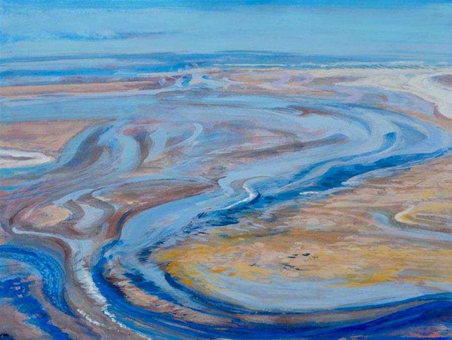 Original art for sale at UGallery.com | Of Water and Light by Sidonie Caron | $3,500 | acrylic painting | 36' h x 48' w | ..\art\acrylic-painting-Of-Water-and-Light