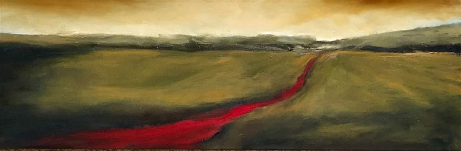 Original art for sale at UGallery.com | Red Road XVII by Mandy Main | $550 | oil painting | 8' h x 24' w | ..\art\oil-painting-Red-Road-XVII