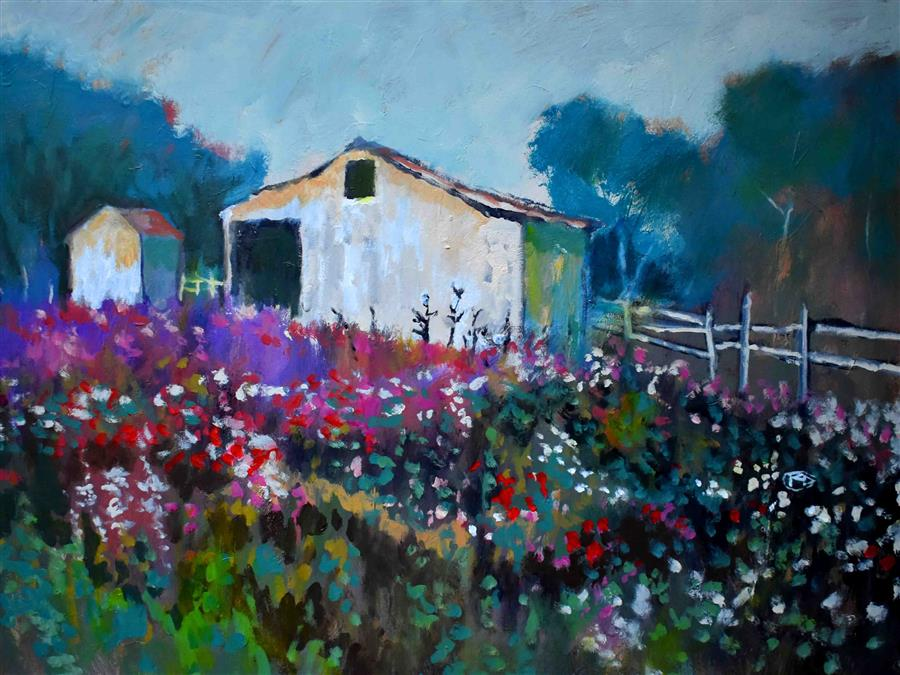 Original art for sale at UGallery.com | Flowers near White Barn by KIP DECKER | $2,500 |  | 30' h x 40' w | ..\art\acrylic-painting-Flowers-near-White-Barn