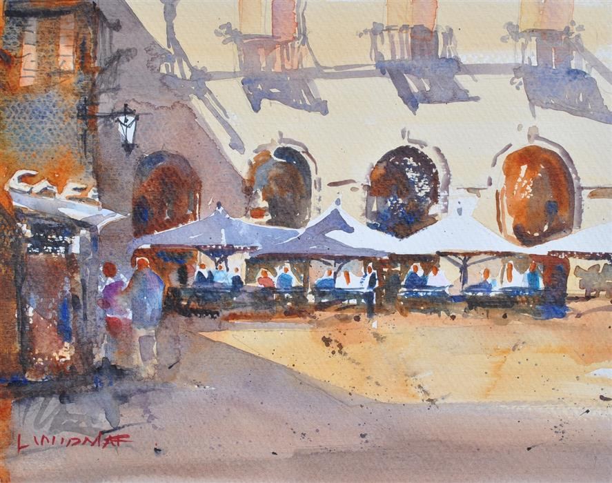 Original art for sale at UGallery.com | Cordoba Cafe by Lanie Widmar | $550 | watercolor painting | 12.5' h x 15.5' w | ..\art\watercolor-painting-Cordoba-Cafe