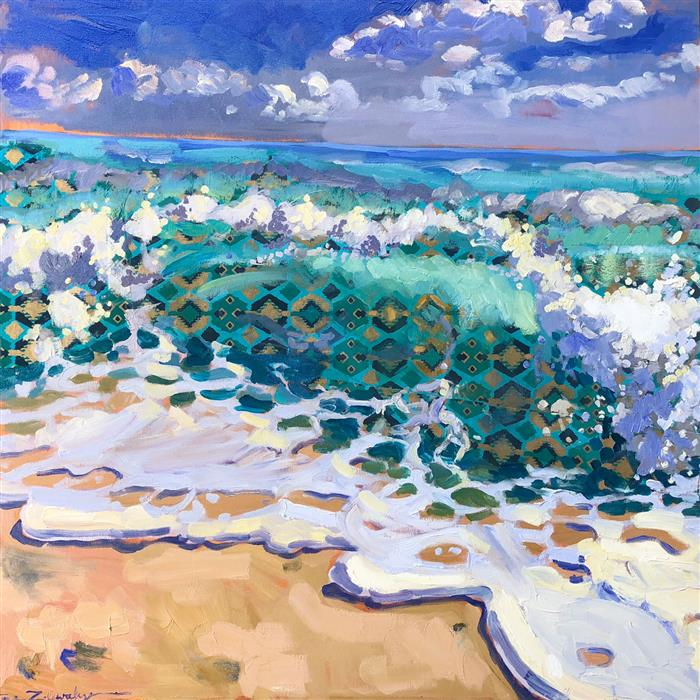 Original art for sale at UGallery.com | Sea Patterns by Tara Zalewsky-Nease | $1,300 | oil painting | 36' h x 36' w | ..\art\oil-painting-Sea-Patterns