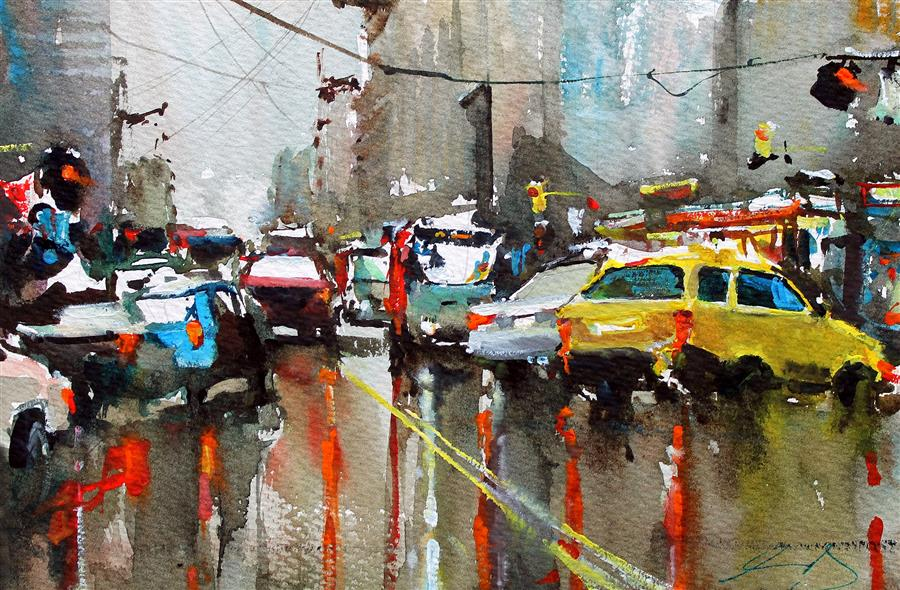 Original art for sale at UGallery.com | Wet Market Street by Maximilian Damico | $575 | watercolor painting | 7.5' h x 11' w | ..\art\watercolor-painting-Wet-Market-Street
