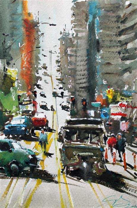 Original art for sale at UGallery.com | Running Down by Maximilian Damico | $575 | watercolor painting | 11' h x 7.5' w | ..\art\watercolor-painting-Running-Down