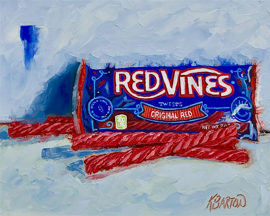 Original art for sale at UGallery.com | Red Vines by Karen Barton | $425 | oil painting | 8' h x 10' w | ..\art\oil-painting-Red-Vines
