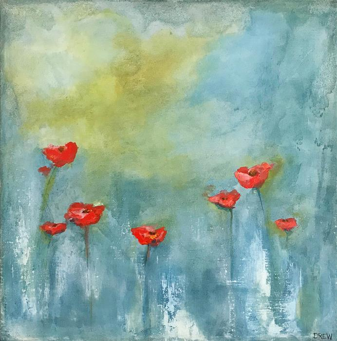 Original art for sale at UGallery.com | Poppies by Drew Noel Marin | $750 | acrylic painting | 18' h x 18' w | ..\art\acrylic-painting-Poppies-64491