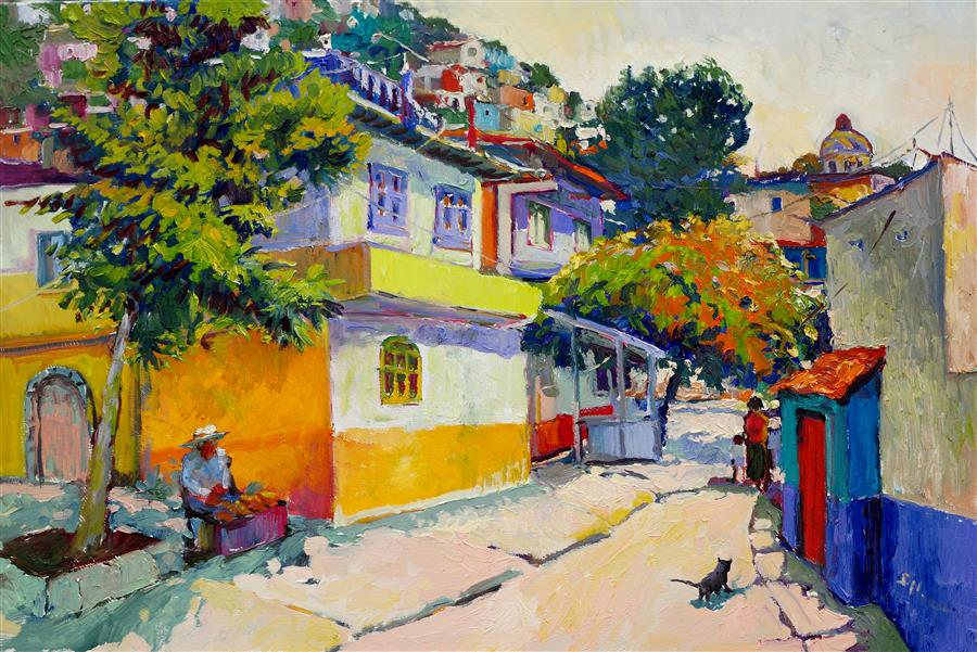 Original art for sale at UGallery.com | Street in Old Town, Mexico by Suren Nersisyan | $1,800 | oil painting | 24' h x 36' w | ..\art\oil-painting-Street-in-Old-Town-Mexico