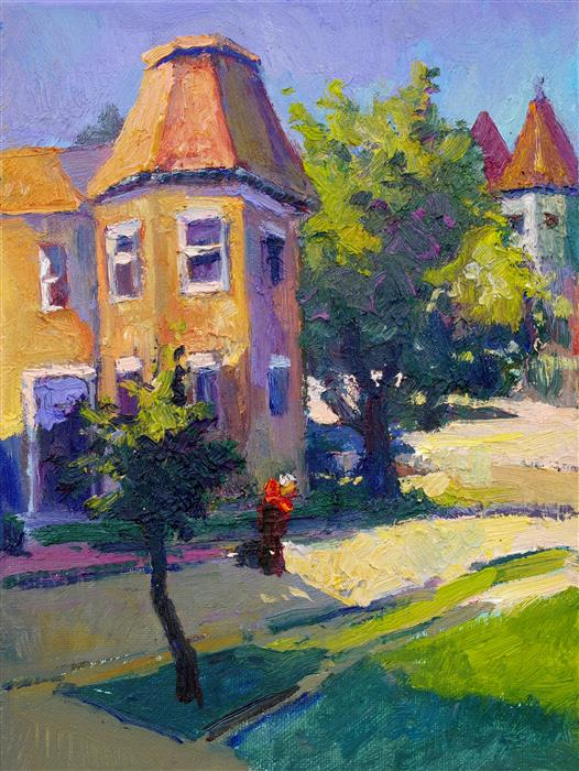 Original art for sale at UGallery.com | Street Corner in Washington DC, Morning Light by Suren Nersisyan | $300 | oil painting | 12' h x 9' w | ..\art\oil-painting-Street-Corner-in-Washington-DC-Morning-Light