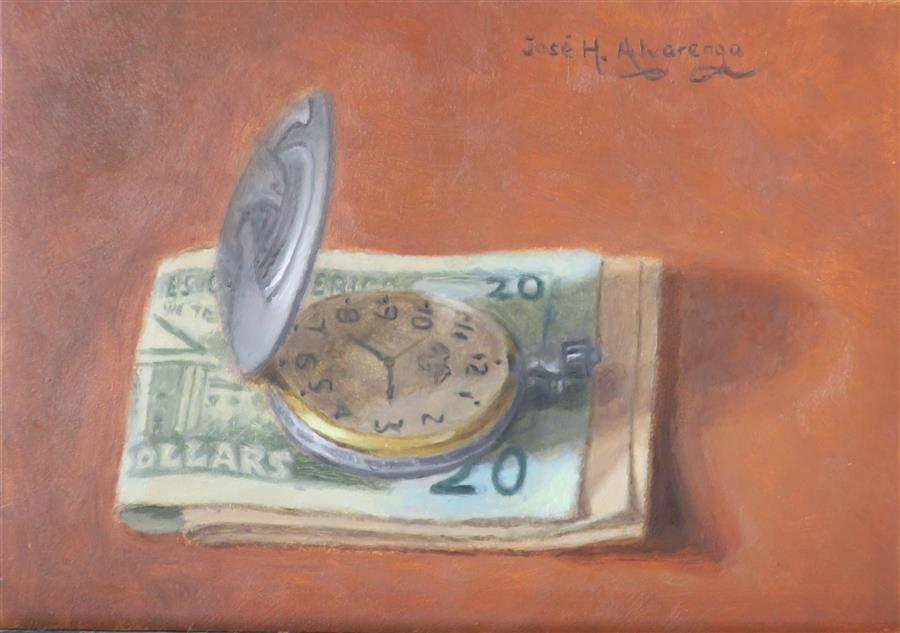 Original art for sale at UGallery.com | Time Is Money by Jose H. Alvarenga | $350 | oil painting | 5' h x 7' w | ..\art\oil-painting-Time-Is-Money