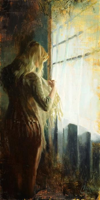 Original art for sale at UGallery.com | Light from the Window by CHRISTOPHER CLARK | $525 |  | 20' h x 10' w | ..\art\oil-painting-Light-from-the-Window