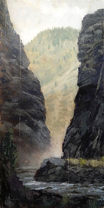 Original art for sale at UGallery.com | Clear Creek Cliffs by Christopher Clark | $700 | oil painting | 24' h x 12' w | ..\art\oil-painting-Clear-Creek-Cliffs