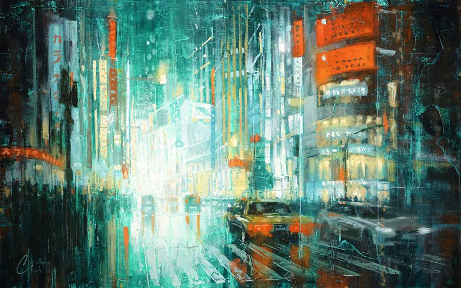 Original art for sale at UGallery.com | Tokyo at Night by Christopher Clark | $925 | oil painting | 15' h x 24' w | ..\art\oil-painting-Tokyo-at-Night