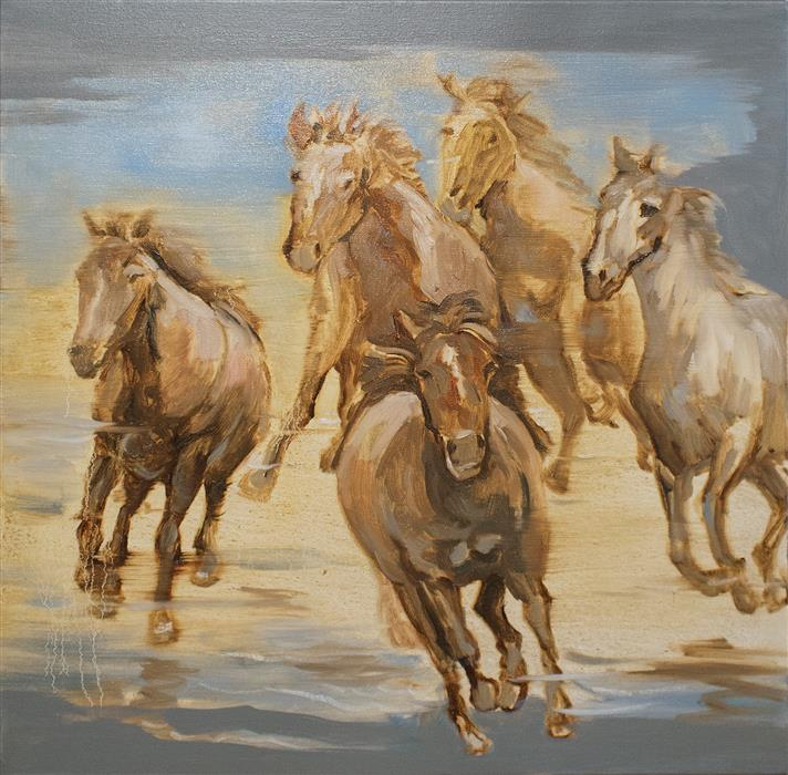 Original art for sale at UGallery.com | Wild Horses 02 by YUVAK TULADHAR | $825 |  | 24' h x 24' w | ..\art\oil-painting-Wild-Horses-02
