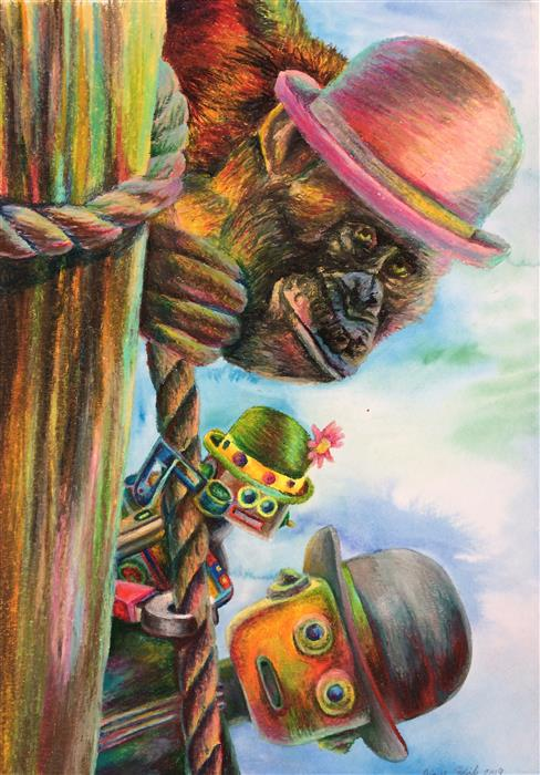 Original art for sale at UGallery.com | Peek-A-Boo by Diane Flick | $650 | mixed media artwork | 21.5' h x 15' w | ..\art\mixed-media-artwork-Peek-A-Boo-64545