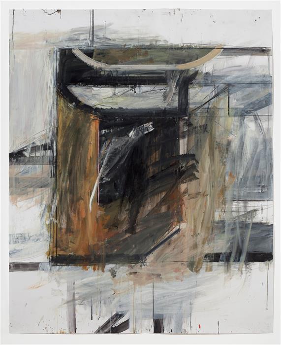 Original art for sale at UGallery.com | Ocher Combine by Peter Hoss | $3,100 | mixed media artwork | 58.5' h x 48' w | ..\art\mixed-media-artwork-Ocher-Combine
