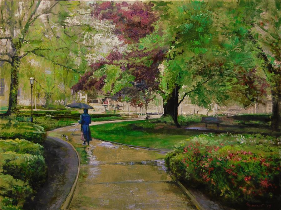Original art for sale at UGallery.com | Meander on the Green by Onelio Marrero | $1,025 | oil painting | 18' h x 24' w | ..\art\oil-painting-Meander-on-the-Green