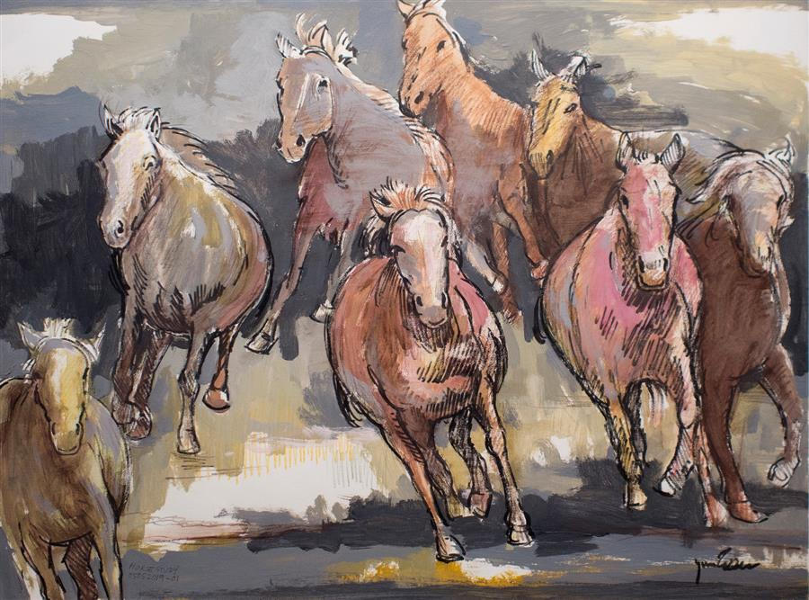 Original art for sale at UGallery.com | Horse Study 052019-01 by Yuvak Tuladhar | $475 | acrylic painting | 22' h x 30' w | ..\art\acrylic-painting-Horse-Study-052019-01
