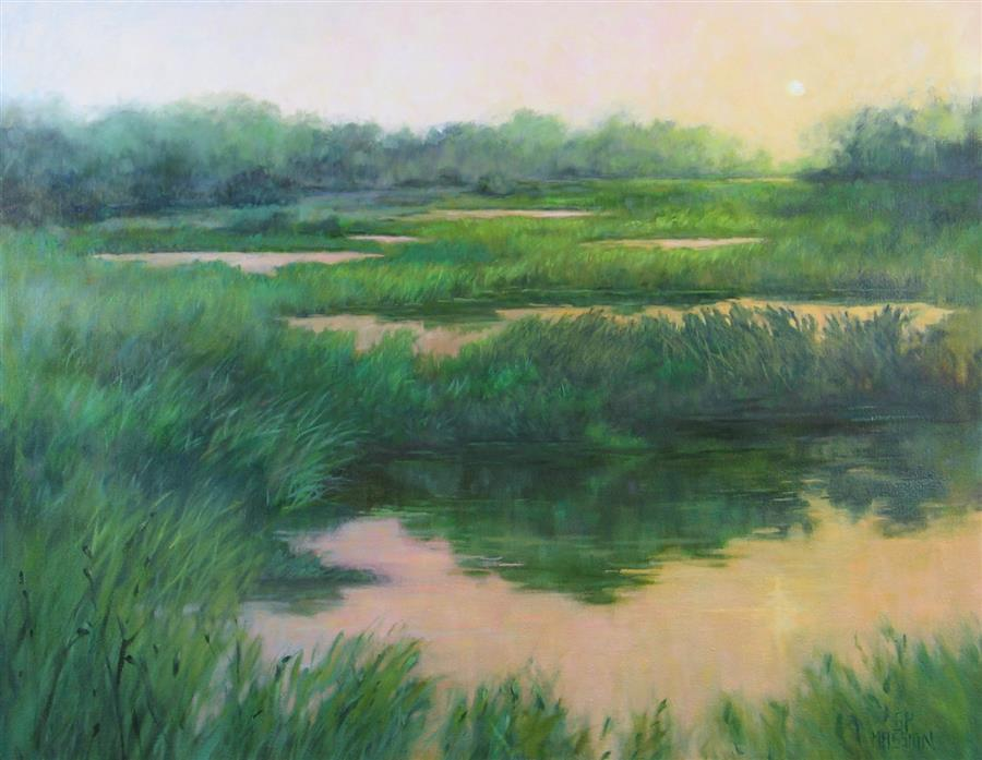 Original art for sale at UGallery.com | Solar Event over Marsh and Fen by Suzanne Massion | $875 | oil painting | 22' h x 28' w | ..\art\oil-painting-Solar-Event-over-Marsh-and-Fen