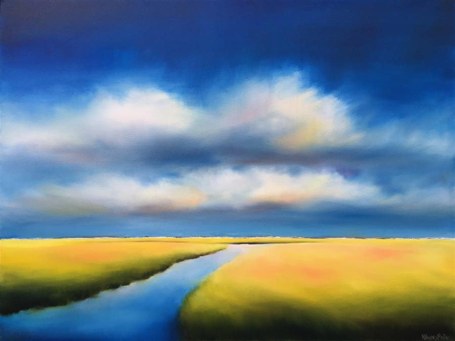Original art for sale at UGallery.com | Marsh Meets Clouds by Nancy Hughes Miller | $2,175 | oil painting | 30' h x 40' w | ..\art\oil-painting-Marsh-Meets-Clouds