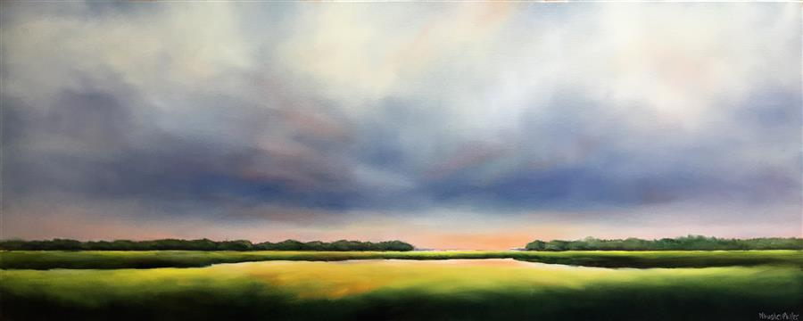Original art for sale at UGallery.com | Morning Marsh Clouds by Nancy Hughes Miller | $1,375 | oil painting | 16' h x 40' w | ..\art\oil-painting-Morning-Marsh-Clouds