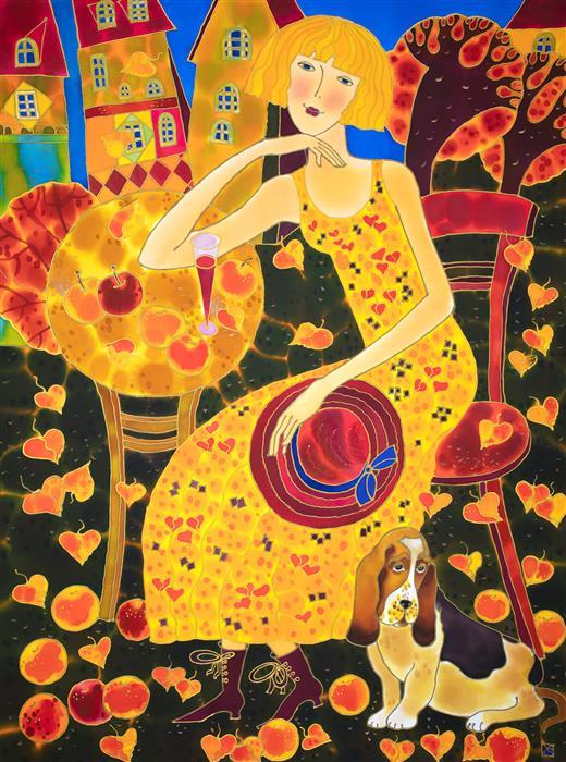 Original art for sale at UGallery.com | A Bashful Companion by Yelena Sidorova | $1,675 | mixed media artwork | 40' h x 30' w | ..\art\mixed-media-artwork-A-Bashful-Companion