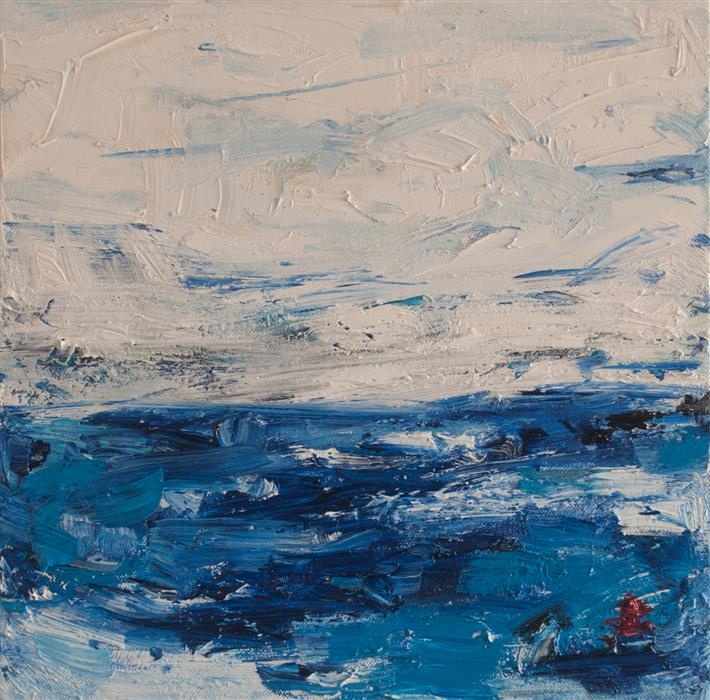 Original art for sale at UGallery.com | Oceanside 2 by Kajal Zaveri | $400 | oil painting | 12' h x 12' w | ..\art\oil-painting-Oceanside-2