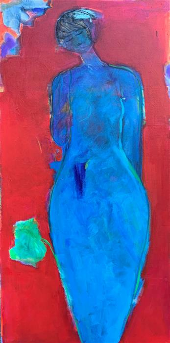 Original art for sale at UGallery.com | Blue Mermaid by Robin Okun | $2,000 | acrylic painting | 48' h x 24' w | ..\art\acrylic-painting-Blue-Mermaid
