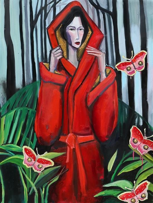 Original art for sale at UGallery.com | At Night in a Red Robe by Scott Dykema | $4,200 | mixed media artwork | 48' h x 36' w | ..\art\mixed-media-artwork-At-Night-in-a-Red-Robe
