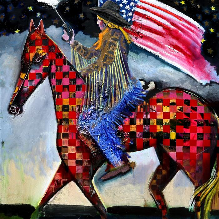Original art for sale at UGallery.com | Night Ride Waving Flag and Pistol by Scott Dykema | $5,400 | mixed media artwork | 48' h x 48' w | ..\art\mixed-media-artwork-Night-Ride-Waving-Flag-and-Pistol