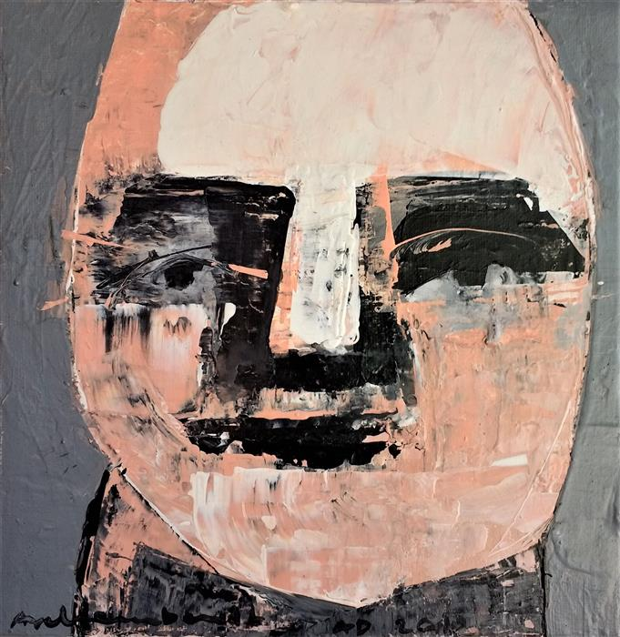 Original art for sale at UGallery.com | Face Portrait by Paulina Archambault | $300 | acrylic painting | 8' h x 8' w | ..\art\acrylic-painting-Face-Portrait