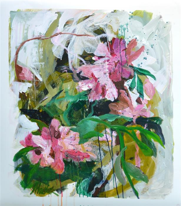 Original art for sale at UGallery.com | Flora Improvisations 4 by Julia Hacker | $950 | acrylic painting | 31' h x 27' w | ..\art\acrylic-painting-Flora-Improvisations-4