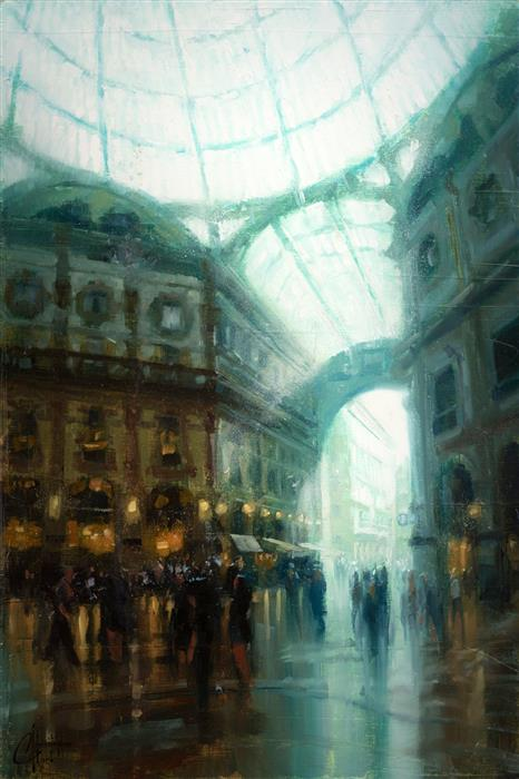 Original art for sale at UGallery.com | Milan, Italy - La Galleria by CHRISTOPHER CLARK | $575 |  | 18' h x 12' w | ..\art\oil-painting-Milan-Italy-La-Galleria