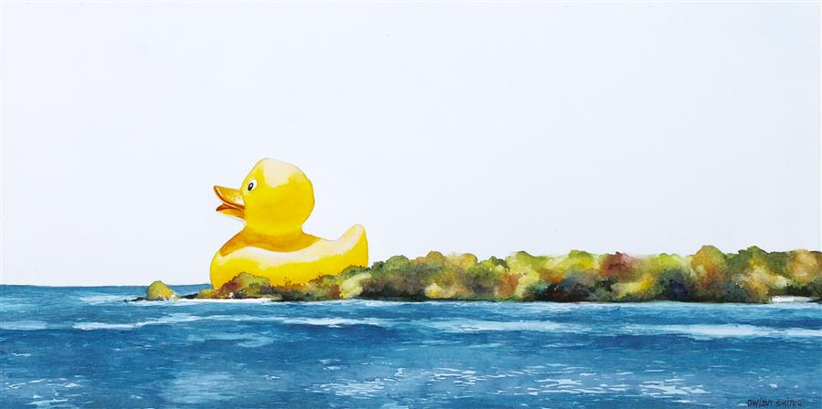 Original art for sale at UGallery.com | Duck, Duck, Cruise by DWIGHT SMITH | $475 |  | 9' h x 18' w | ..\art\watercolor-painting-Duck-Duck-Cruise