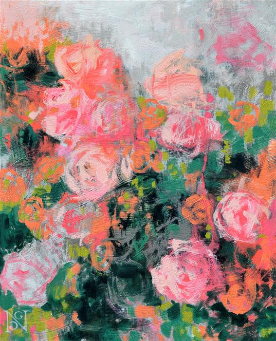 Original art for sale at UGallery.com | Bed of Roses by Natalie George | $700 | acrylic painting | 20' h x 16' w | ..\art\acrylic-painting-Bed-of-Roses