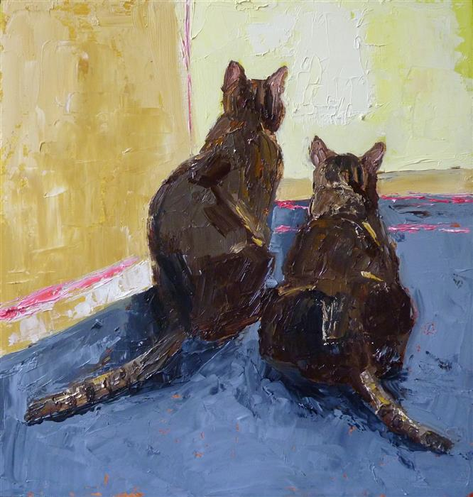 Original art for sale at UGallery.com | Study of Two Cats by JUDY MACKEY | $300 |  | 8' h x 8' w | ..\art\oil-painting-Study-of-Two-Cats