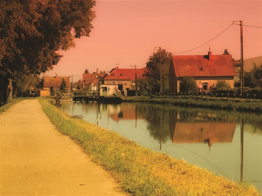Original art for sale at UGallery.com | Canal du Centre by Yasmine Rafii | $25 | photography | 16' h x 12' w | ..\art\photography-Canal-du-Midi