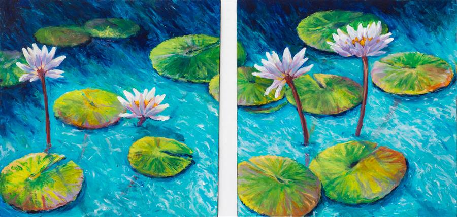 Original art for sale at UGallery.com | Reflections I and II by CAROLE MOORE | $2,775 |  | 24' h x 50' w | ..\art\acrylic-painting-Reflections-I-and-II