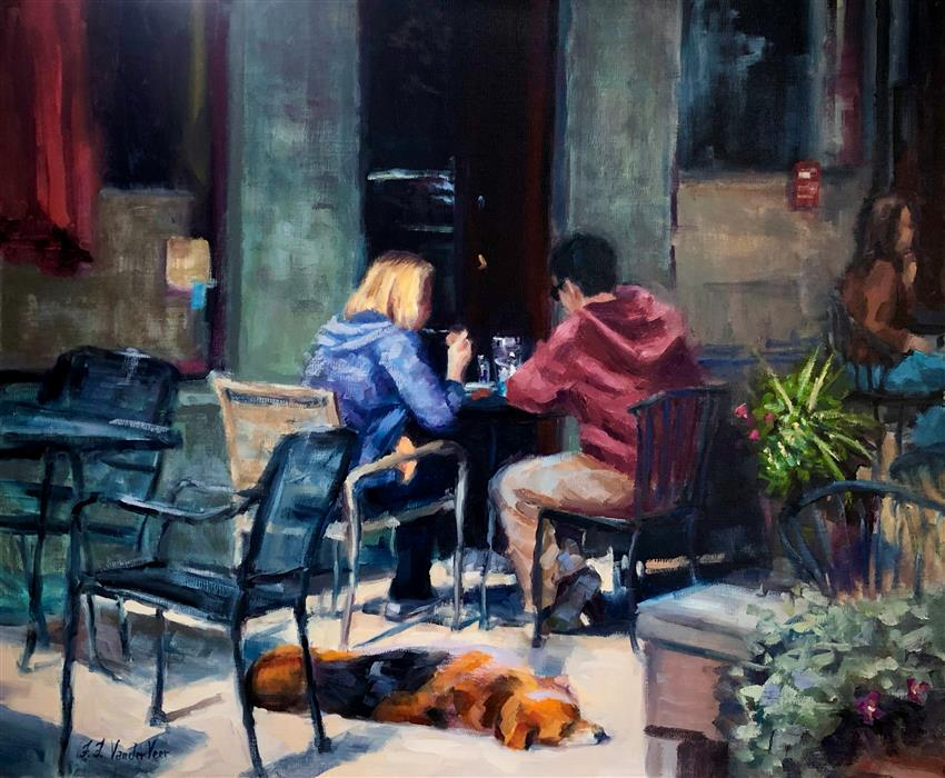 Original art for sale at UGallery.com | Let Sleeping Dogs Lie by Faye Vander Veer | $2,650 | oil painting | 20' h x 24' w | ..\art\oil-painting-Let-Sleeping-Dogs-Lie