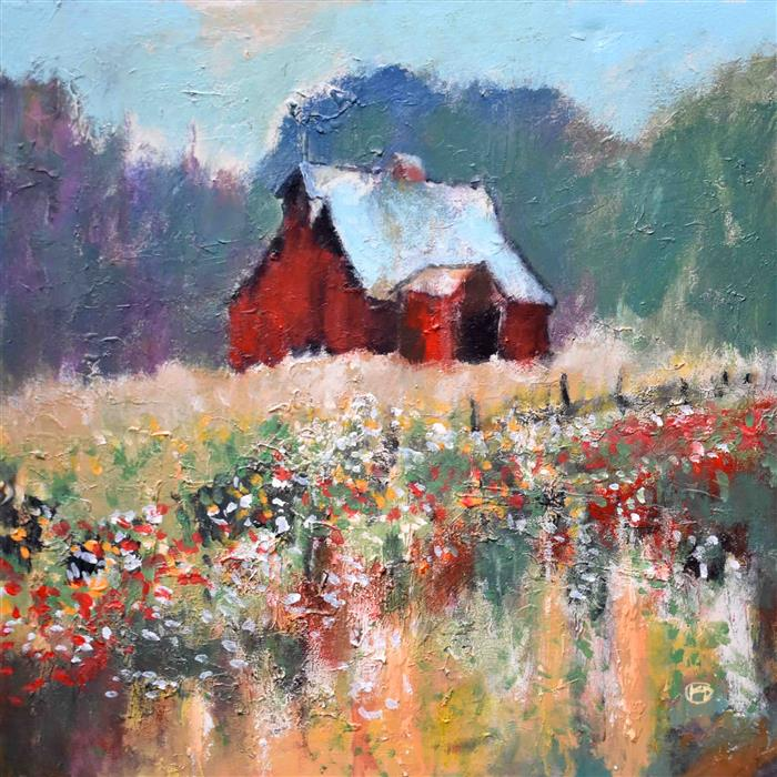 Original art for sale at UGallery.com | Hilltop Barn by Kip Decker | $2,000 | acrylic painting | 30' h x 30' w | ..\art\acrylic-painting-Hilltop-Barn