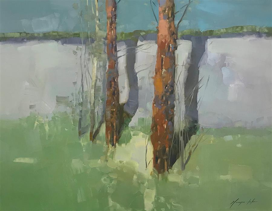 Original art for sale at UGallery.com | Viridian Trees by Vahe Yeremyan | $1,500 | oil painting | 27.5' h x 36' w | ..\art\oil-painting-Viridian-Trees