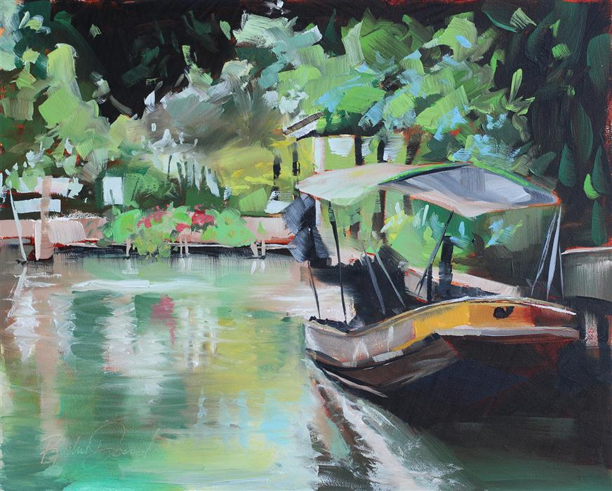 Original art for sale at UGallery.com | Bangkok Canals by RACHEL DOWD | $275 |  | 8' h x 10' w | ..\art\oil-painting-Bangkok-Canals