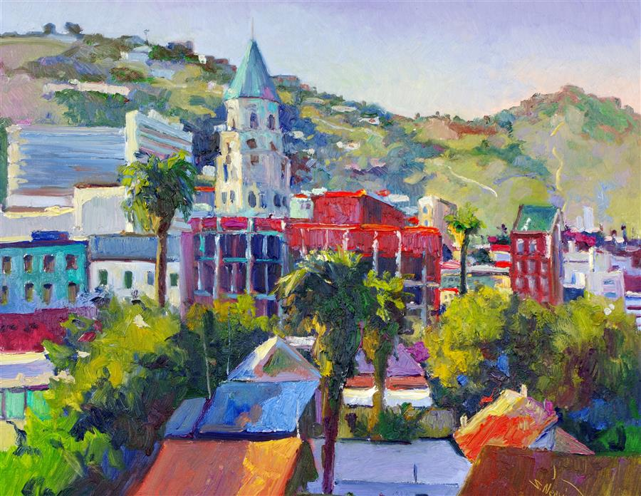 Original art for sale at UGallery.com | Hollywood, View from the Roof by Suren Nersisyan | $1,400 | oil painting | 24' h x 30' w | ..\art\oil-painting-Hollywood-View-from-the-Roof