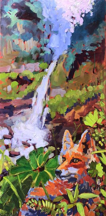 Original art for sale at UGallery.com | Costa Rica Falls with Fox by Tara Zalewsky-Nease | $1,700 | oil painting | 48' h x 24' w | ..\art\oil-painting-Costa-Rica-Falls-with-Fox