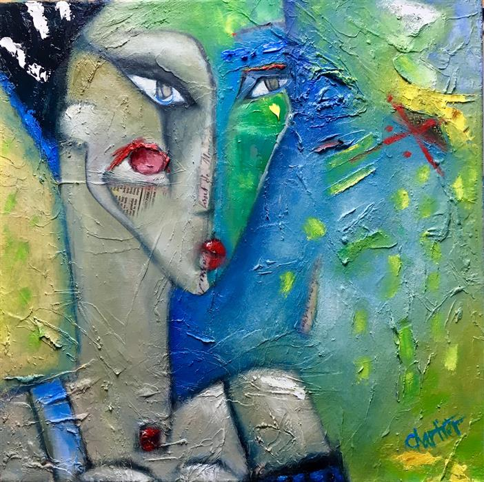 Original art for sale at UGallery.com | Dinner Date by Cynthia Chartier | $1,175 | mixed media artwork | 20' h x 20' w | ..\art\mixed-media-artwork-Dinner-Date