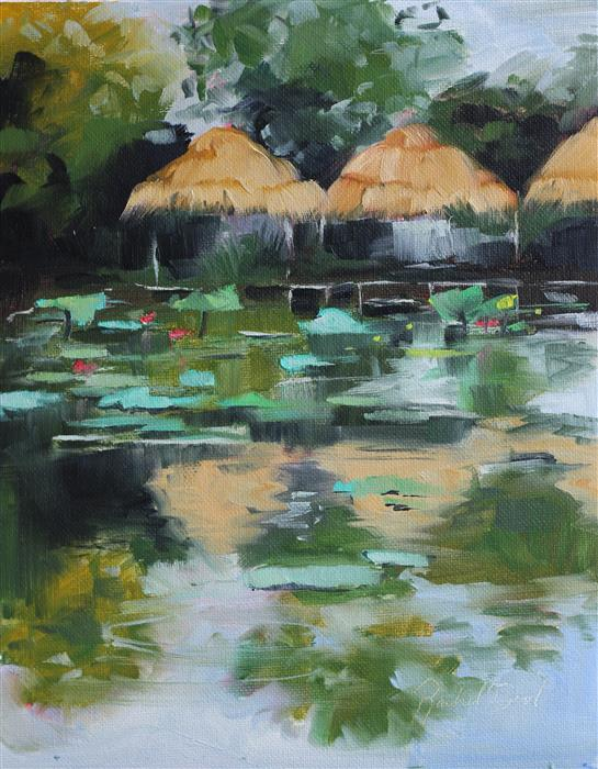 Original art for sale at UGallery.com | Lotus Farm by Rachel Dowd | $275 | oil painting | 10' h x 8' w | ..\art\oil-painting-Lotus-Farm