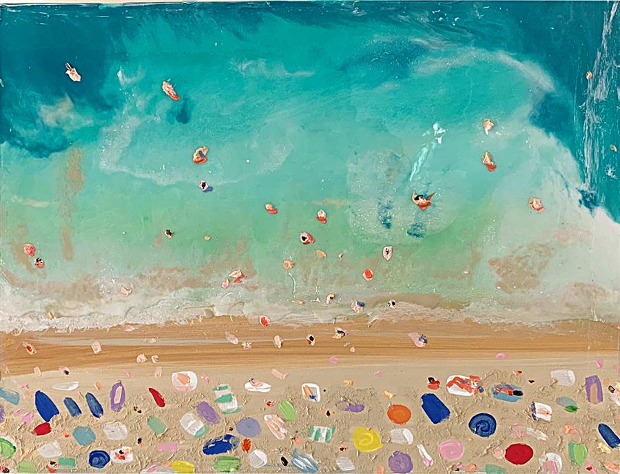 Original art for sale at UGallery.com | Beach Aerial 1 by Joe Davis | $1,100 | mixed media artwork | 16' h x 20' w | ..\art\mixed-media-artwork-Beach-Aerial-1