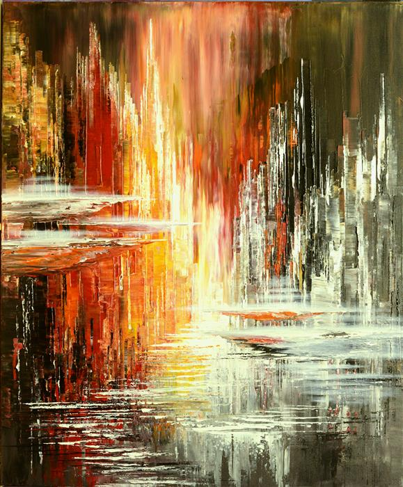 Original art for sale at UGallery.com | Rainmaker Incident by Tatiana Iliina | $3,050 | acrylic painting | 36' h x 30' w | ..\art\acrylic-painting-Rainmaker-Incident