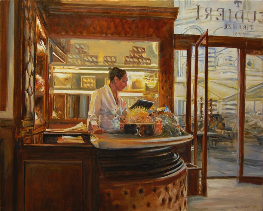 Original art for sale at UGallery.com | Caffe Scudieri, Florence by ONELIO MARRERO | $1,650 |  | 24' h x 30' w | ..\art\oil-painting-Caffe-Scudieri-Florence