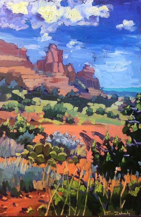 Original art for sale at UGallery.com | Sedona Summer by Tara Zalewsky-Nease | $1,100 | oil painting | 36' h x 24' w | ..\art\oil-painting-Sedona-Summer