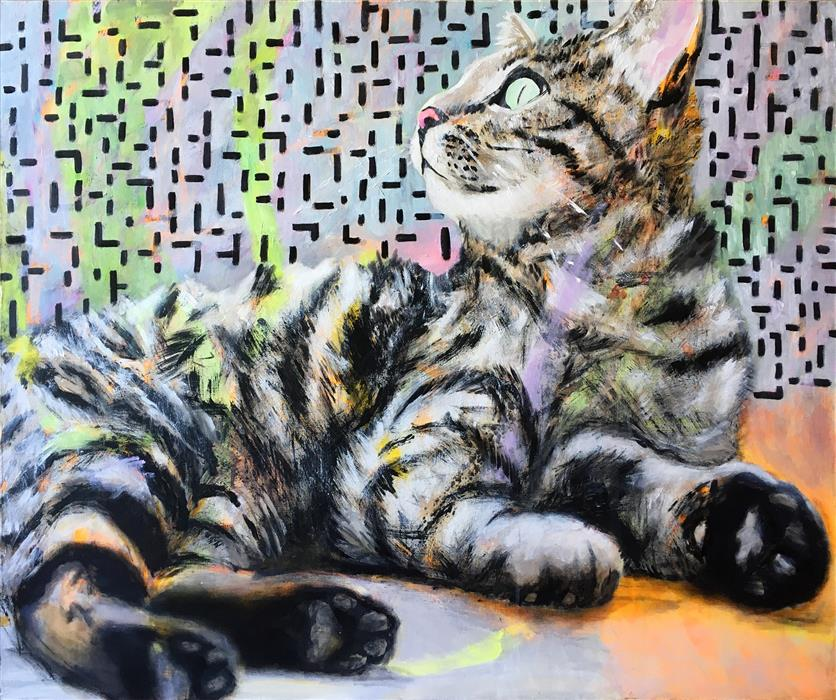 Original art for sale at UGallery.com | Silver Cat by Petr Ldin | $1,300 | mixed media artwork | 31.6' h x 39.3' w | ..\art\mixed-media-artwork-Silver-Cat