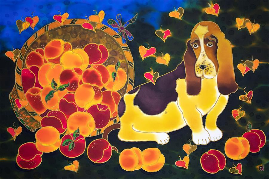 Original art for sale at UGallery.com | Basset and Colorado Peaches by Yelena Sidorova | $1,125 | mixed media artwork | 20' h x 30' w | ..\art\mixed-media-artwork-Basset-and-Colorado-Peaches
